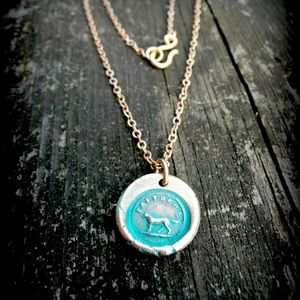 """NEW Wax Seal Stamp dog """"faithful"""" necklace"""